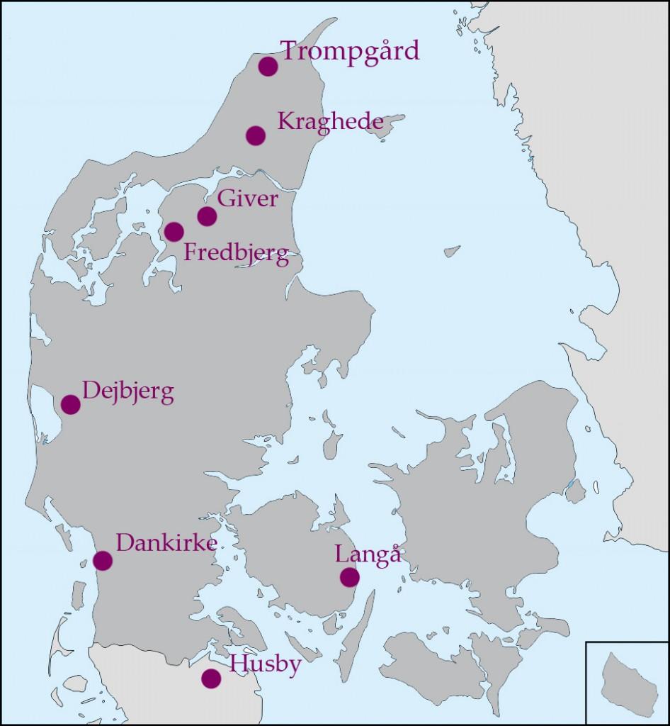 Kort over vogngravsfundene fra Danmark og Nordtyskland. Grafik VHM.