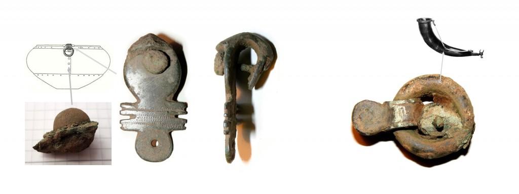 Et udvalg af de fragmenterede beslag af bronze der har siddet på vognen. Foto VHM.