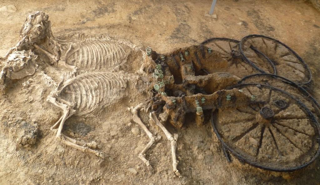 Vognen i Karanovo-graven. Foran vognen var der to heste, kun få meter fra hestene lå der en hund begravet. Foto Veselin Ignatov.