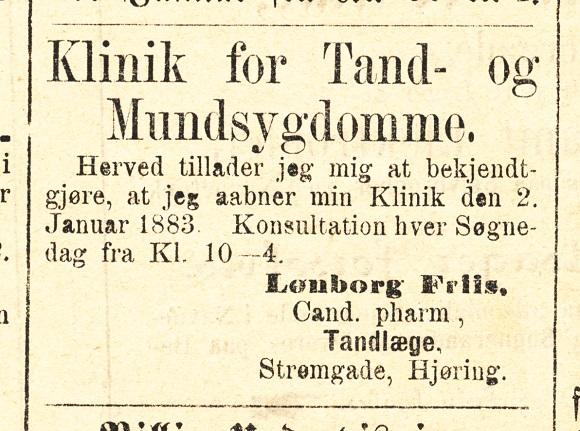 LØnborg Friis tandlægeklinik Annonce VT 27-12 1882