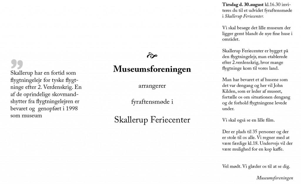Invitation til Flygtningebyen Skallerup 2016 Museumsforeningen 2